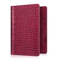 Fintie Passport Holder Travel Wallet RFID Blocking PU Leather Card Case Cover (Crocodile Red)