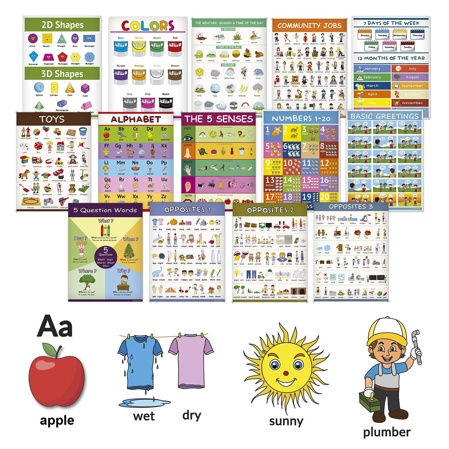 14 Educational Classroom Posters for Toddlers - ABC Alphabet, Numbers, Shapes, Colors, Days of The Week, Months of The Year, Weather, Opposites and More - Learning for Toddlers Classroom Decorations