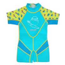 Cheekaaboo Kiddies Toddler Kids UPF50 Sun Protection Thermal Swimsuit, Age 3-4, Light Blue/Camper Van