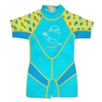 Cheekaaboo Kiddies Toddler Kids UPF50 Sun Protection Thermal Swimsuit, Age 2-3, Light Blue/Camper Van