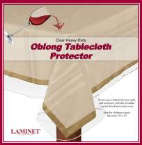 "LAMINET Heavy-Duty Deluxe Crystal Clear Vinyl Tablecloth Protector 70"" x 52"" - Oblong"
