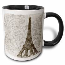 3dRose Vintage Eiffel Tower - France Two Tone Mug, 11 oz, Black/White
