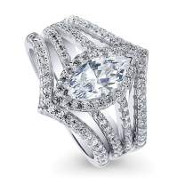 BERRICLE Rhodium Plated Sterling Silver Marquise Cut Cubic Zirconia CZ Halo Engagement Wedding Split Shank Ring Set 1.73 CTW