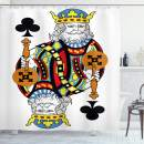 """Ambesonne King Shower Curtain, King of Clubs Playing Gambling Poker Card Game Leisure Theme Without Frame Artwork, Cloth Fabric Bathroom Decor Set with Hooks, 75"""" Long, Blue Red"""