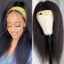 Headband Wig Kinky Straight Human Hair Wigs for Black Women None Lace Front Wigs Machine Made Wigs Natural Color 150% Density (natural, 14)