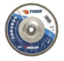 "Weiler 50544 Tiger Abrasive Flap Disc, Type 29, Threaded Hole, Aluminum Backing, Zirconia Alumina, 7"" Dia., 60 Grit"
