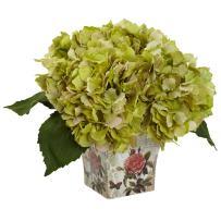 Nearly Natural 1373-GR Hydrangea Silk Arrangement with Floral Planter, B