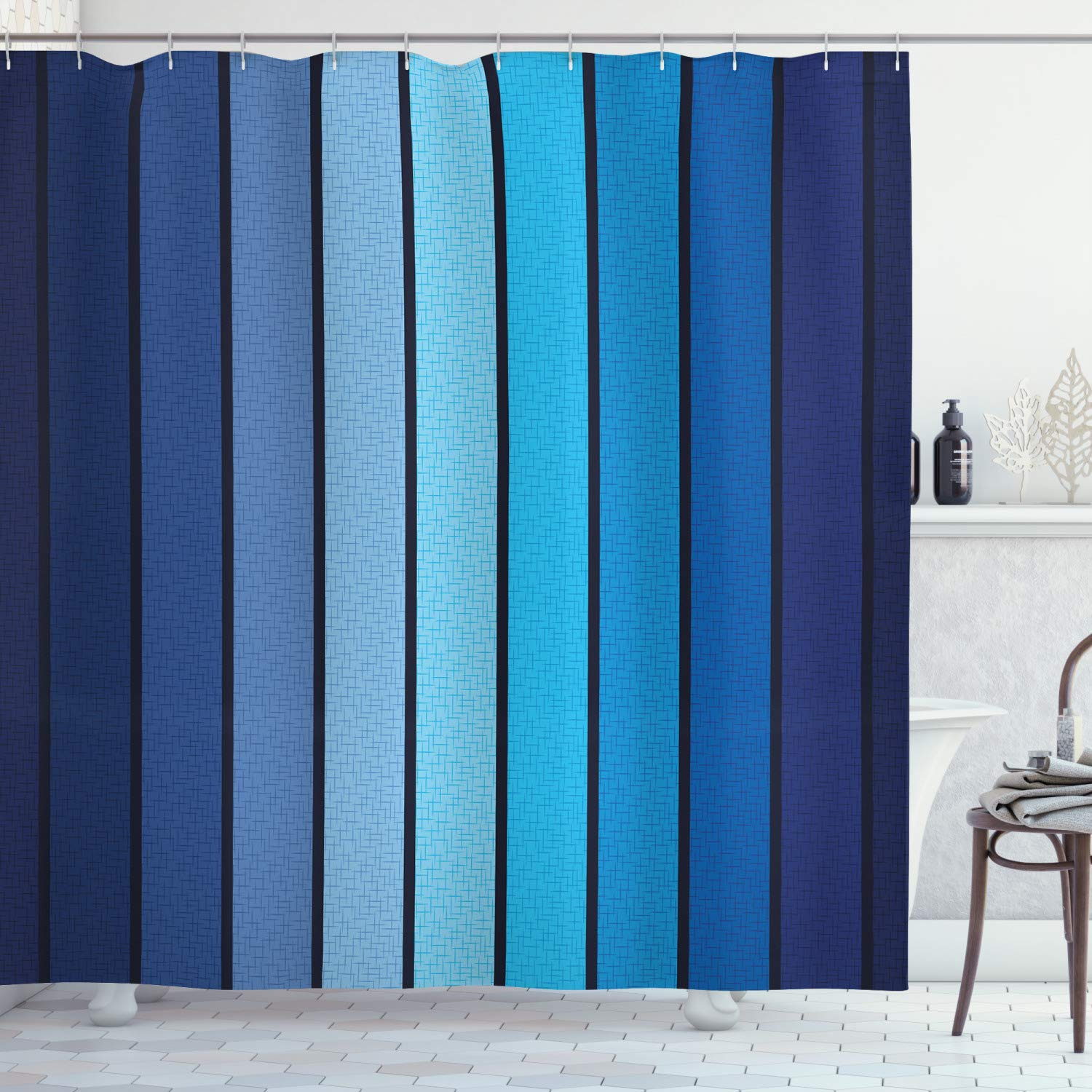"""Ambesonne Navy Shower Curtain, Plaques in Blue Tones with Border Lines with Sketchy Details Print Image, Cloth Fabric Bathroom Decor Set with Hooks, 75"""" Long, Blue"""