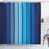 "Ambesonne Navy Shower Curtain, Plaques in Blue Tones with Border Lines with Sketchy Details Print Image, Cloth Fabric Bathroom Decor Set with Hooks, 70"" Long, Blue"