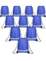 Shappy 10 Pieces Drawstring Bag Sack Pack Cinch Tote Kids Adults Storage Bag for Gym Traveling (Reflective Royal Blue)