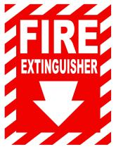 "ZING 1888 Zing Safety Sign, Fire Extinguisher with Arrow, 10"" Height x 7"" Width, Recycled Plastic, White on Red"