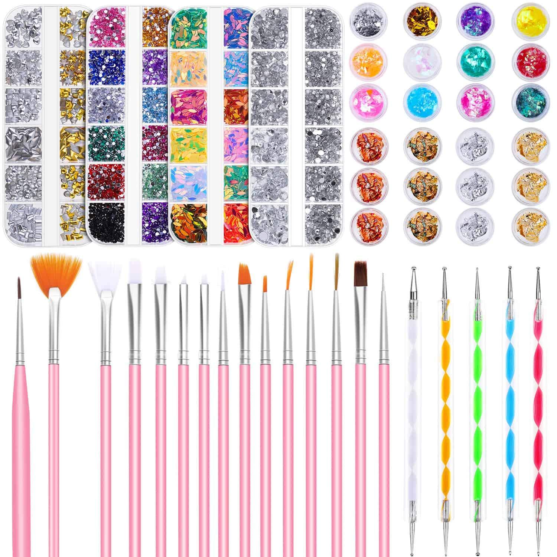 Nail Design Kit, Selizo Nail Art Tools Kit Include 8420pcs Nail Rhinestones Gems Crystals, Nail Brushes, 24 Pots Nail Foil Flakes for Nail Art Rhinestones Supplies and Decoration