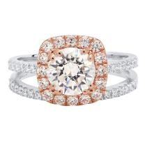 Clara Pucci 2.45 CT Round Cut Solitaire Pave Halo Bridal Engagement Wedding Ring Band Set 14k White and Rose Gold