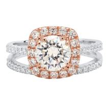 2.35 CT Round Brilliant Cut Simulated Diamond CZ Designer Solitaire Pave Halo Ring band set Solid 14k White and Rose Multi Tone Gold