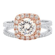 Clara Pucci Round Cut Solitaire Pave Halo Bridal Engagement Wedding Ring Band Set 14k White and Rose Gold, 2.1CT