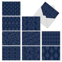 Beautiful Assorted Blank Note Cards with Envelopes 4 x 5.12 inch - All Occasion Greeting Cards 'Indigo Blues' - Professional, Floral Blue Pattern Notecard Stationery (Box of 10) M1776BN