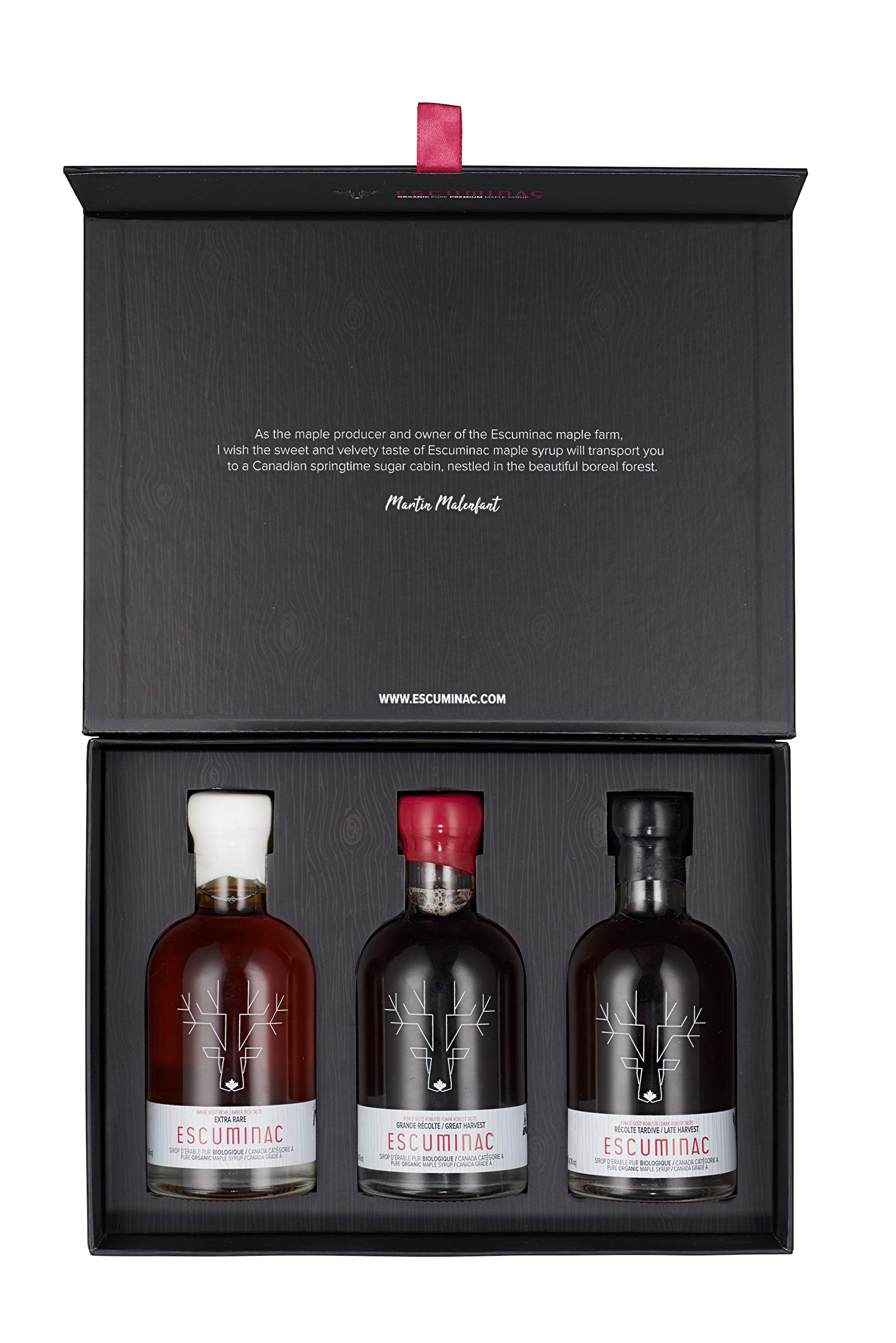 Award winning Escuminac Canadian Maple Syrup, Special Edition Gift Box (3 x 200 ml) Including - Extra Rare, Great Harvest, Late Harvest. Single Origin, Organic. Father's Day Gift