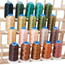 Threadart 20 Spool Polyester Embroidery Machine Thread Natural Colors   1000M Spools 40wt   For Brother Babylock Janome Singer Pfaff Husqvarna Bernina Machines - 10 Sets Available