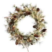 "Vickerman Wreath with 112 PVC Tips, Pine Cones & 50 Dura-Lit Mini Lights, 30"", Clear/Dakota"