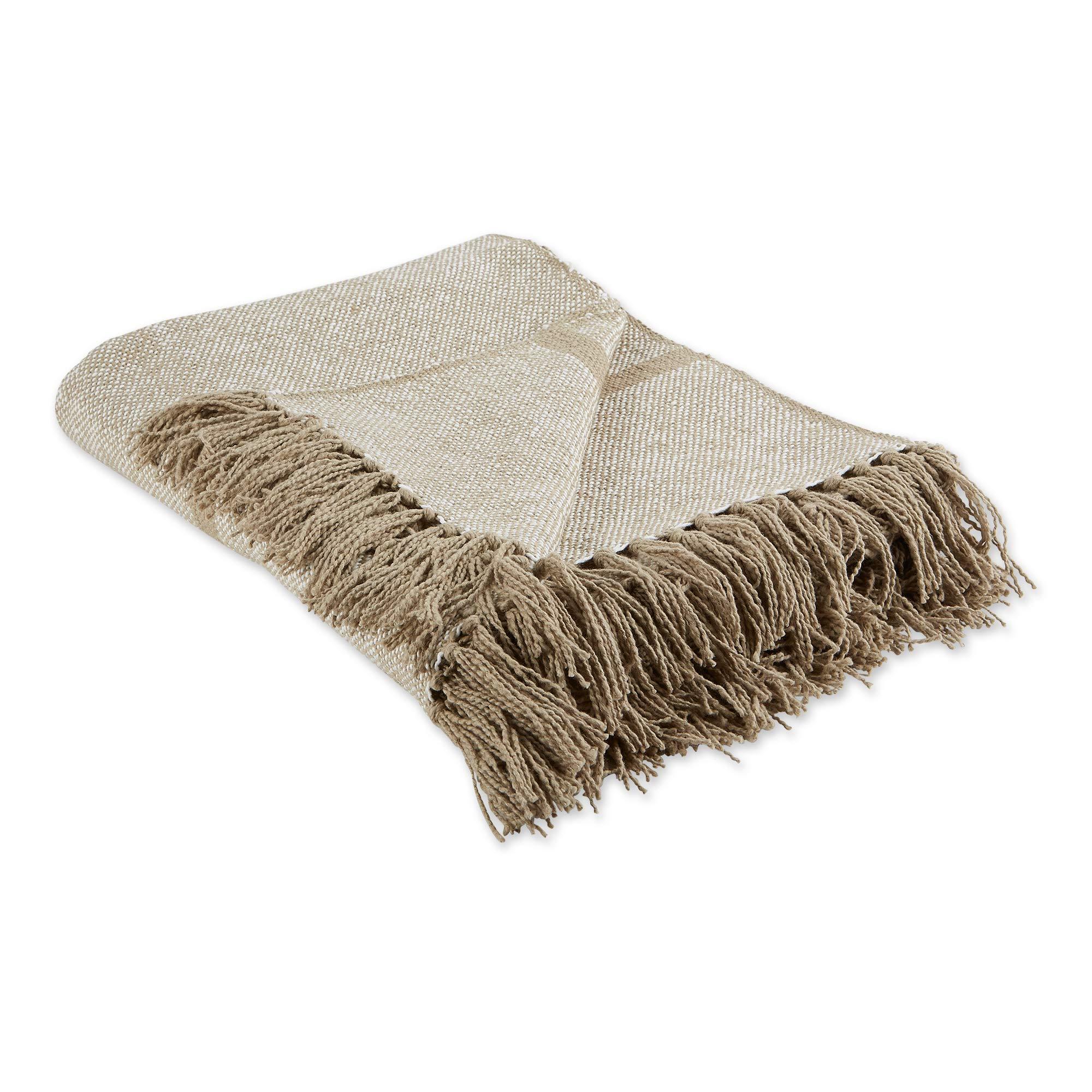 """DII Stone Stripe Homespun Woven Throw, 50x60"""" with 2.5"""" fringe,"""