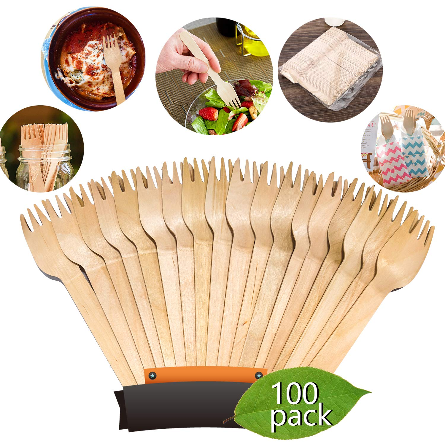"""Disposable Wooden Forks by Birch 