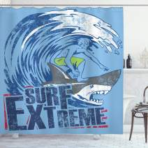 """Ambesonne Vintage Shower Curtain, Extreme Sports Theme Vintage Illustration of a Surfer and a Shark Pattern, Cloth Fabric Bathroom Decor Set with Hooks, 70"""" Long, Dark Blue"""