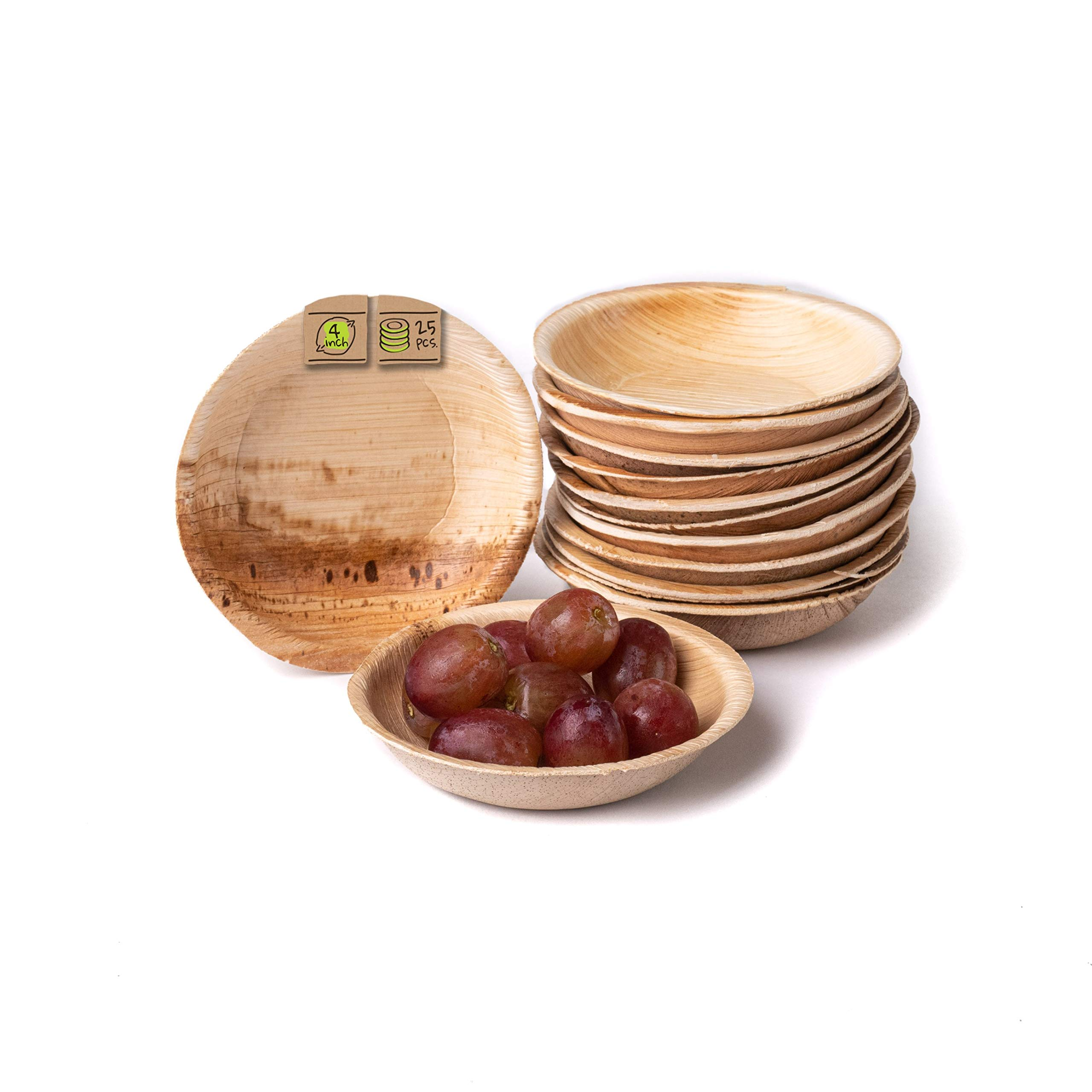 """Naturally Chic Compostable Biodegradable Disposable Plates - Palm Leaf 4"""" Round, Small Dinnerware Set - Eco Friendly Alternative - Party, Wedding, Event Plates (25 Pack)"""