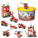 Building Blocks Fire Station City Coastline Emergency Rescue Team, 1000 Pcs 9 Models, Exercise N Play Creative DIY Consturction Toys for Boys Girls Toy Bucket