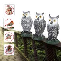 Besmon Owl Decoy Bird Scare Devices(3 Different Owl Scarecrows) Bird Owl Keep Birds Away from Patio 3 Pcs Set