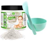 Indian Healing Clay/Natural Bentonite Clay/Detoxifying Wyoming Clay/Deep Pore Cleansing Mask, Face Skin Care, Acne Remover/With Bowl and Spatula