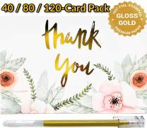 Luxury Thank You Cards with Envelopes | 80 Thank You Notes Bulk Set | Gold Foil Floral Design on Premium Blank Note Card | Wedding, Bridal Shower, Baby Shower, Any Occasions | 4x6 inch (80-Card Pack)