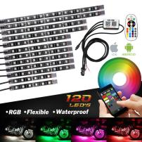 Bluetooth Golf Cart Underbody Glow LED Lighting Kit Multi-Color Accent Glow Neon Lights Car Motorcycle LED Light Kit Strips