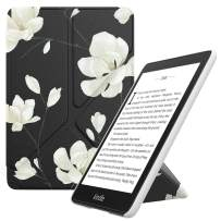 MoKo Case Replacement with Kindle Paperwhite (10th Generation, 2018 Releases), Standing Origami Slim Shell Cover with Auto Wake/Sleep Fits Kindle Paperwhite E-Reader - Black & White Magnolia