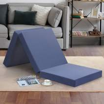 """Olee Sleep Tri-Folding Memory Foam Mattress Topper, 4"""", Gray, Single size, Play Mat, Foldable bed, Guest beds, Portable bed"""