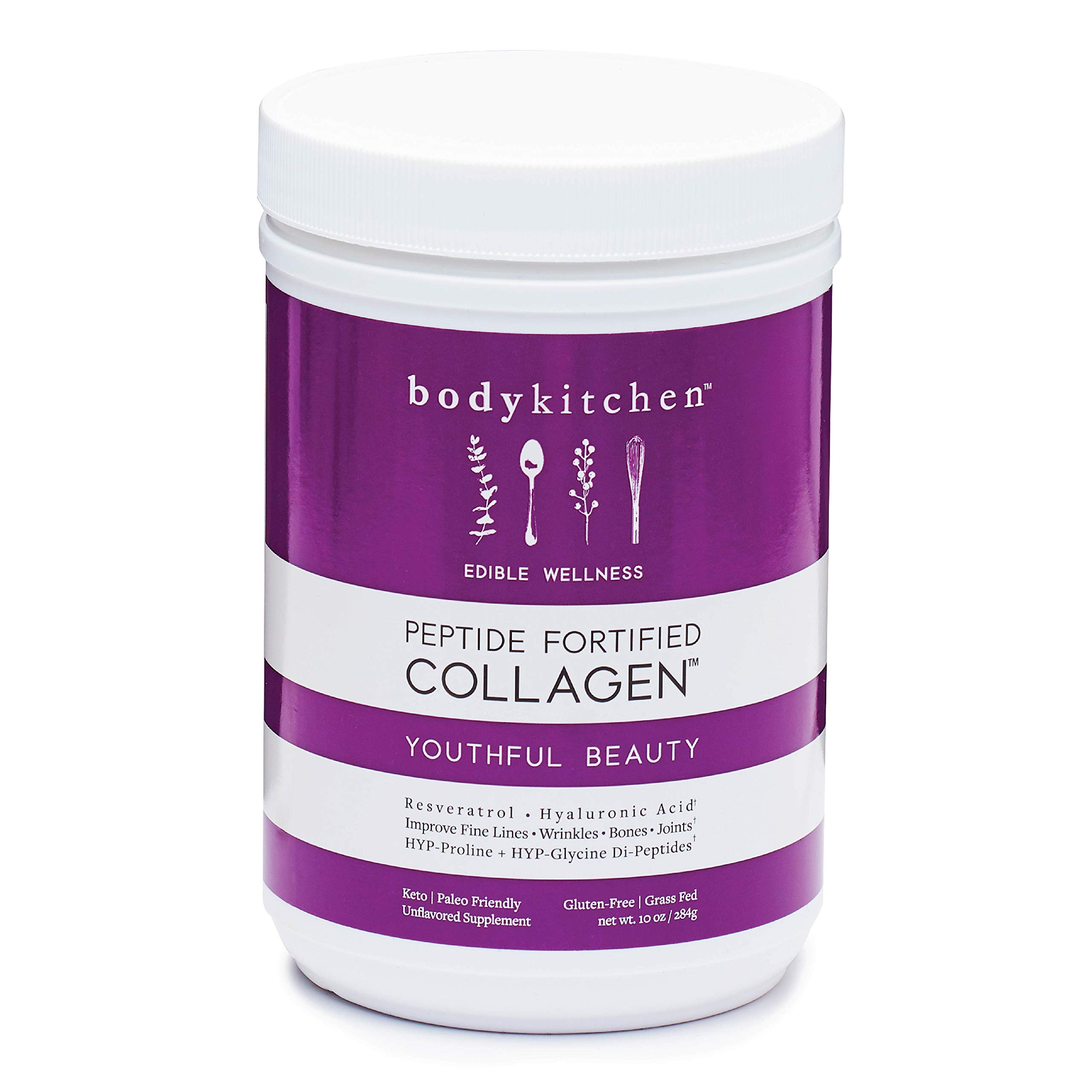 Body Kitchen - Youthful Beauty Collagen Powder - Grass-Fed Collagen + Resveratrol Powder and Hyaluronic Acid - Anti-Aging, Hair Skin Nail, and Antioxidant Support, 10oz
