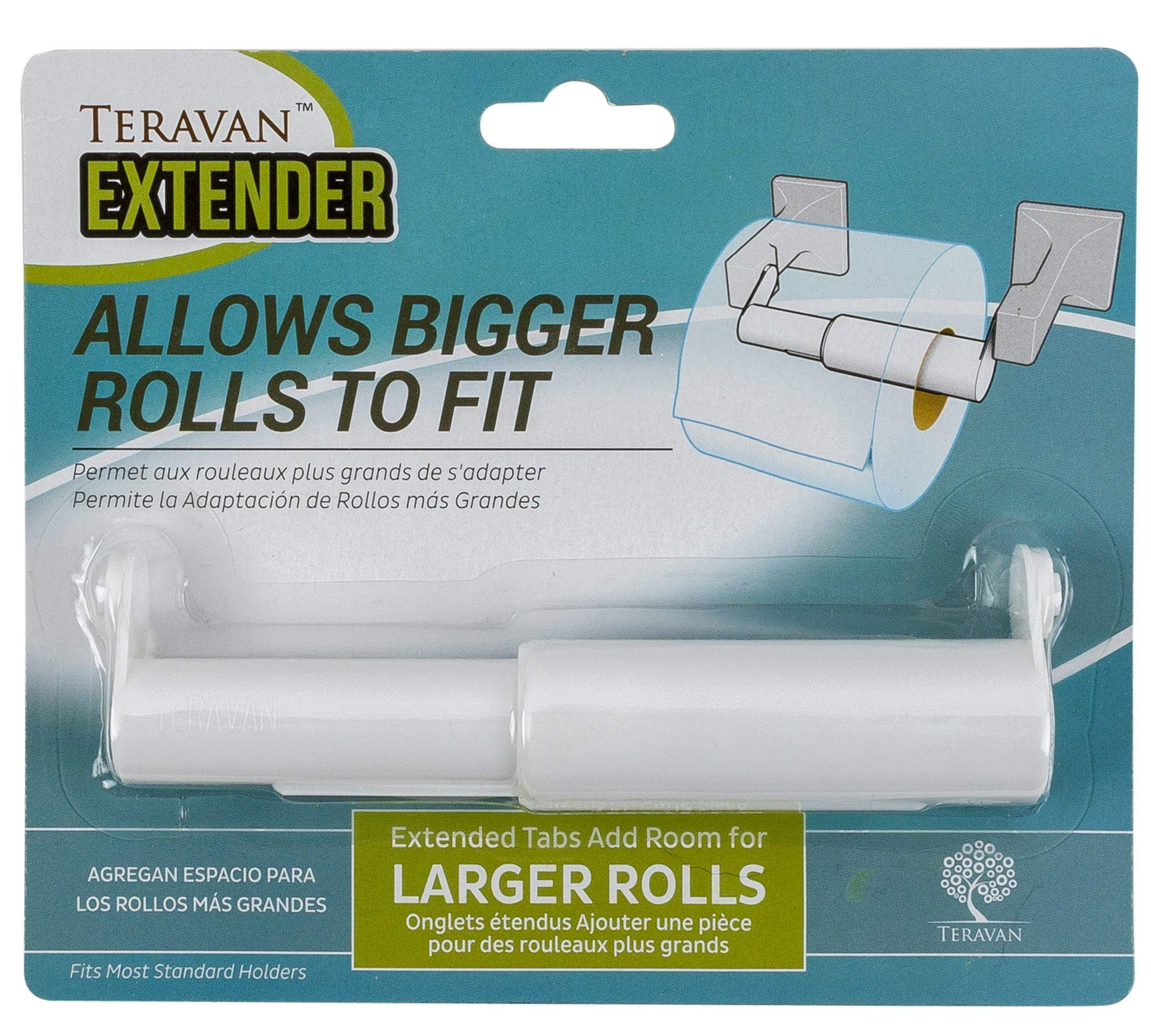 Teravan Extender for Extra Large Toilet Paper, Converts TP Holders to Fit Double Rolls and Triple Rolls, Extended Tabs Fit Most TP Fixtures, Easy to Use, White, 1 Unit
