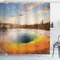 "Ambesonne Yellowstone Shower Curtain, Morning Glory Pool in Yellowstone National Park Winter Scene Landmark Theme, Cloth Fabric Bathroom Decor Set with Hooks, 75"" Long, Orange Brown"