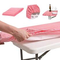 AtkEssentialProducts Waterproof Plastic Vinyl Tablecloth Elastic Edged Rectangular Fitted Picnic Cover Outdoor tablecloths Rectangle Tables Home Indoor Fits 4ft 28x48 Folding Table Red Patterned