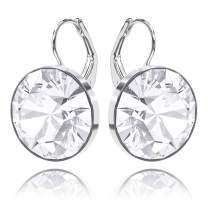 missaqua Swarovski Crystal Earrings Mother's Day Jewelry Gifts 14k White Gold Plated Leverback Pierced Round Drop Sparkle Bella Earrings for Women