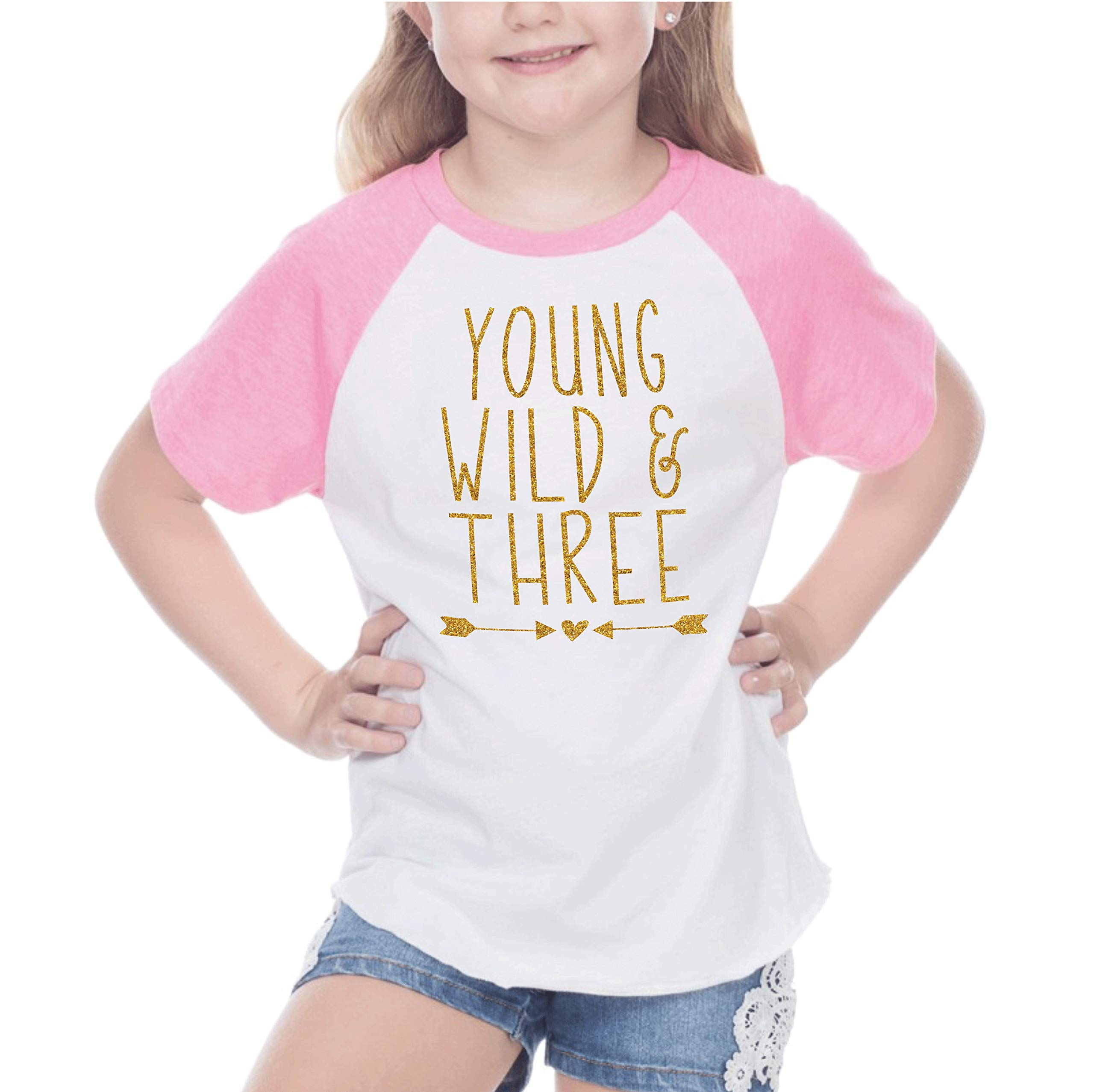 Bump and Beyond Designs Third Birthday Outfit Girl Three Year Old Girl T-Shirt (24 Months Pink Raglan)