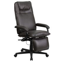 Flash Furniture High Back Brown LeatherSoft Executive Reclining Ergonomic Swivel Office Chair with Arms, BIFMA Certified