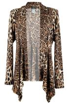 Jostar Women's Stretchy Print Mid Cut Jacket Long Sleeve Print Plus 3XL Brown Animal