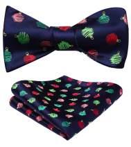 HISDERN Men's Christmas Ball Woven Party Self Bow Tie Pocket Square Set