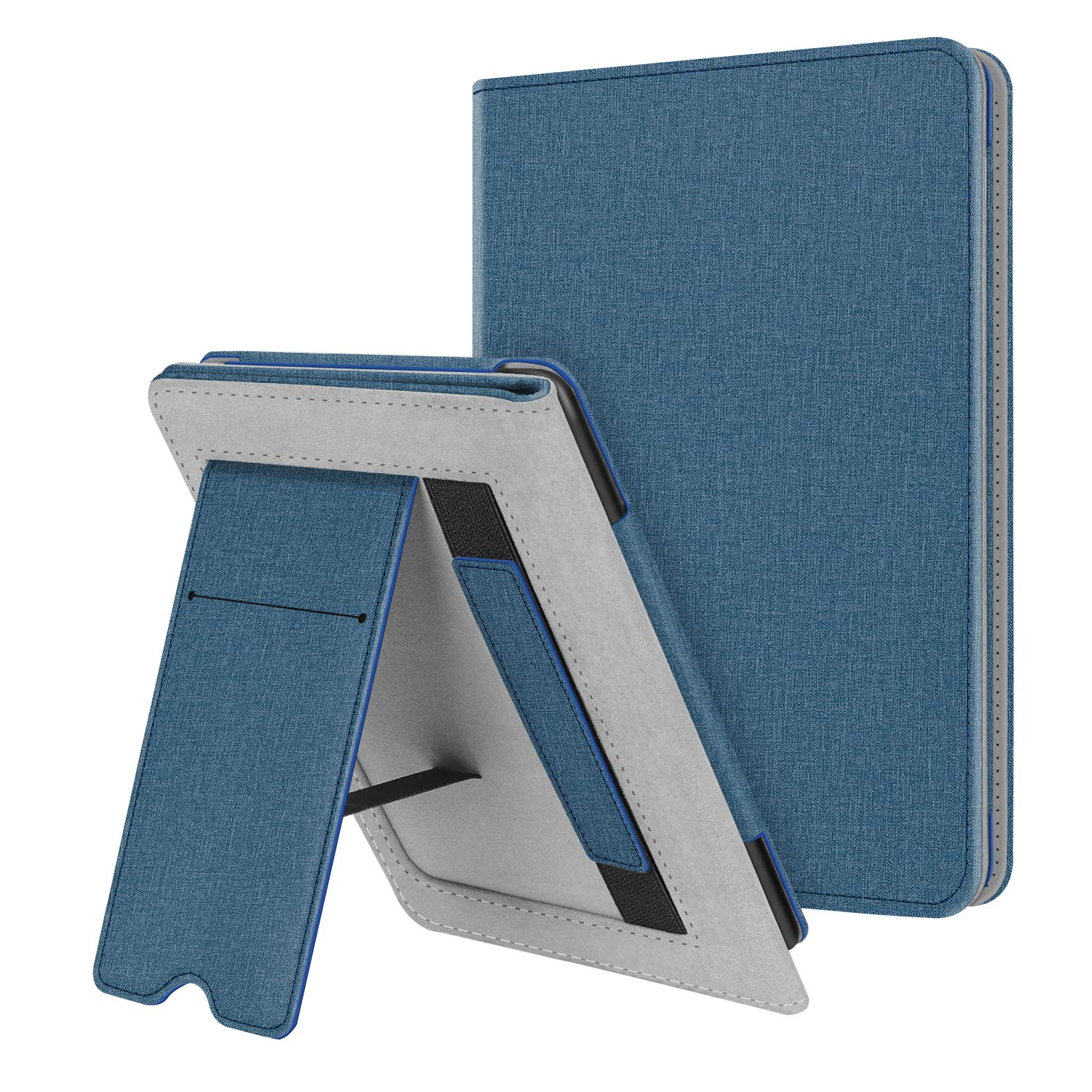 Fintie Stand Case for Kindle Paperwhite (Fits All-New 10th Generation 2018 / All Paperwhite Generations) - Premium PU Leather Protective Sleeve Cover with Card Slot and Hand Strap, Twilight Blue