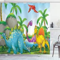 "Ambesonne Jurassic Shower Curtain, Dinosaurs Living in The Jungle Illustration Palm Trees Lakeside Stones Fun Artwork, Cloth Fabric Bathroom Decor Set with Hooks, 70"" Long, Green Red"