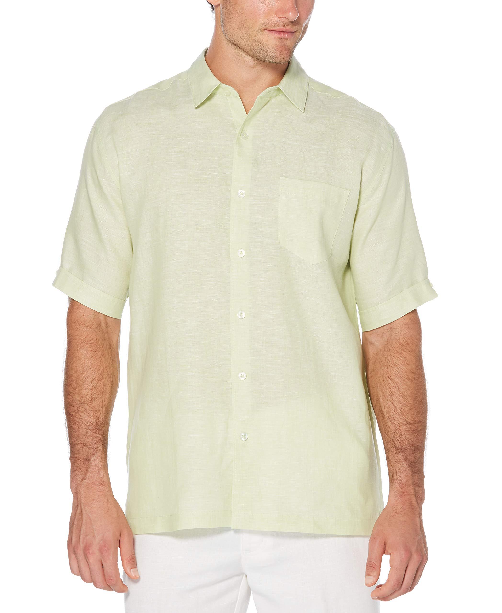 Cubavera Men's Big and Tall Short Sleeve 100% Linen Cross-Dyed Button-Down Shirt with Pocket