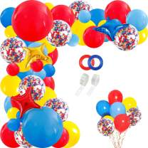 RUBFAC Carnival Circus Balloon Arch and Garland Kit, 120pcs Red, Yellow and Blue Latex Balloons and Multicolor Confetti Balloons, for Carnival Baby Shower Paw Birthday Wedding Party Decoration
