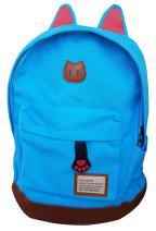 AM Landen CAT Ears Backpack School Bag Travel Backpack Handbag(Teal Blue-Large)