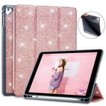 Lontect Compatible iPad 9.7 2018 Case with Apple Pencil Holder Slim Lightweight Trifold Stand Folio Smart Auto Wake/Sleep Soft TPU Cover for Apple iPad 2018 9.7 Inch 6th Generation, Glitter Rose Gold