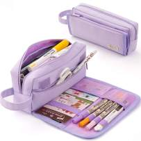 EASTHILL Large Pencil Case Canvas Storage Pouch Handheld Durable Pen Bag Stationery Zipper Pouch for Middle High School Office College Teen(Purple)